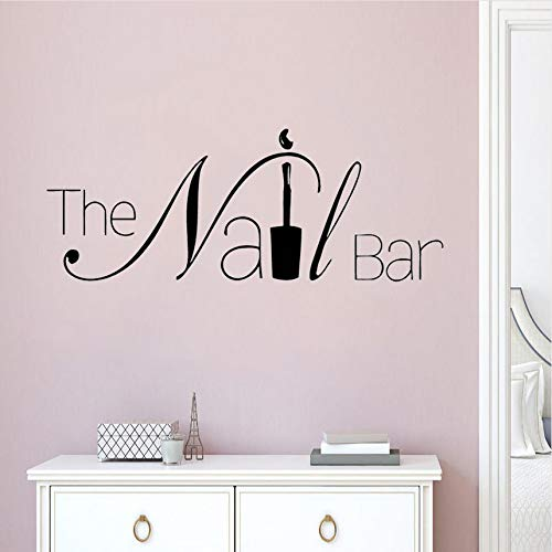Cczxfcc The Nail Bar Logo Sticker voor ramen Ontwerp Manicure Muursticker afneembaar Nail Art Poster voor muur schoonheidssalon Raamdecoratie 57 x 22 cm