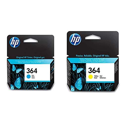HP 364 CB318EE, Cian, Cartucho de Tinta Original, de 300 páginas, para impresoras + Cartucho de tinta amarilla 364 364 Ink Cartridges, de 5 a 80% RH