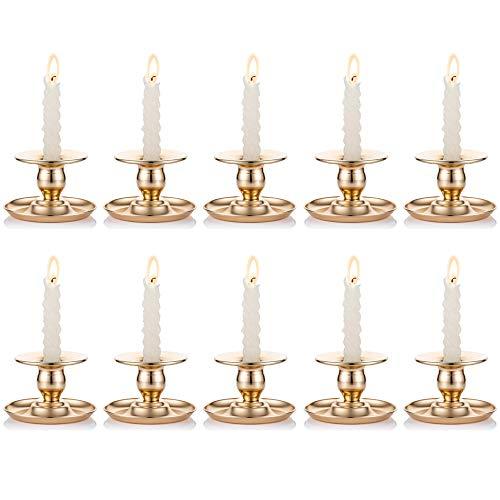 Nuptio 10 Stück Metall Chamberstick Gold Messing Kerzenhalter Passt Taper, Kerzenhalter, Teelichter und Stumpenkerzen für Fenster und Mantel Display