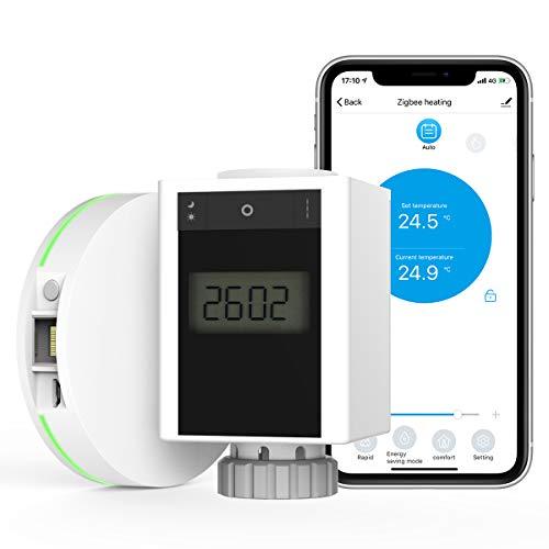 MoKo Termostato de Radiador Inteligente & Zigbee y Puerta de Enlace Set con WiFi APP Control Remoto, Válvula Termostato de Calefacción con Ahorro de Energía Sistema, Compatible con Alexa Google Home
