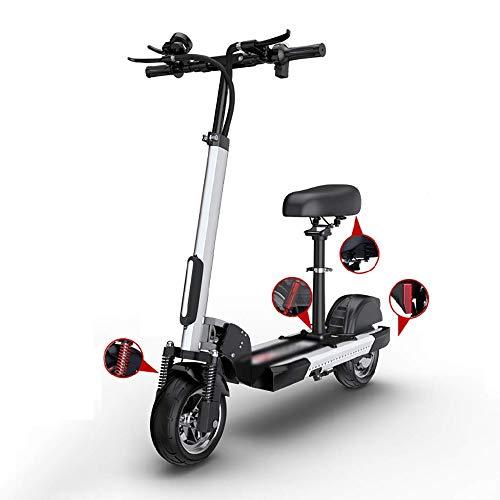 FUJGYLGL Scooter eléctrico portátil con Soporte del Asiento USB de Carga del teléfono Pantalla LCD, 400W Motor de Velocidad 55 km/h con Altura Regulable de cercanías Vespa