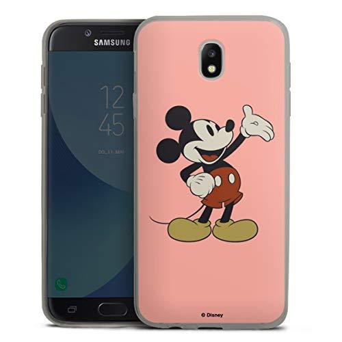 Slim Hülle extra dünn kompatibel mit Samsung Galaxy J7 Duos 2017 Silikon Handyhülle anthrazit Hülle Disney Mickey Mouse Offizielles Lizenzprodukt