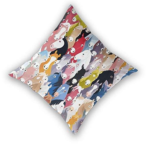Fodera per cuscino con stampa 3D,Pattern con colorati cartoni animati cavalli Pony infanzia opera d'arte,Moderna federa per divano divano letto auto 20'x 20' federa fodere per cuscino cerniera 2 pezzi