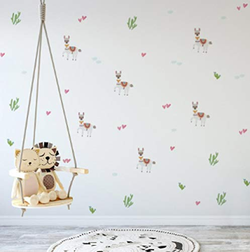 Muurstickers (DIY) Cartoon Animal Alpaca Leuke Cactus Plant Muursticker Kleuterschool Kinderkamer Babykamer Kantoor Decoratie Warm Kunst Muursticker