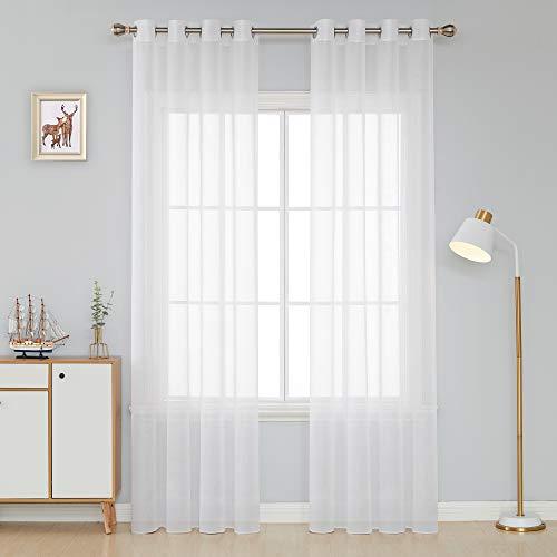 Deconovo Leinen Optik mit Ösen Voile Gardinen Dekoschal 214x132 cm Weiß 2er Set, Stoff, 214x132