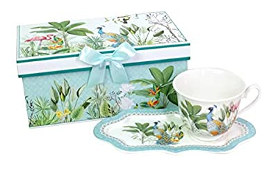 Lightahead New Bone China Unique Tea Cup 8.5 oz and Royal Saucer Set Peacock in Rain forest design in a Reusable Handmade attractive Gift Box with Ribbon