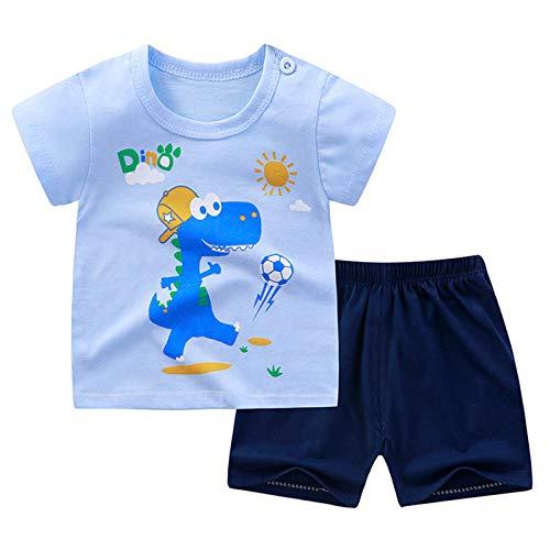 inhzoy Kleinkind Baby Jungen Mädchen Outfits Sommer Kleidung Sets Cartoon Druck T-Shirt Unterhemd Tank Tops und Short Kurze Hosen Set Baumwolle Blau & Marineblau 98-104