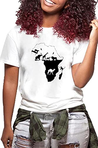 SLYZ Señoras Verano Talla Grande Camiseta Blanca Estampada Señoras Tamaño Europeo Cuello Redondo Personalidad Casual Blusa De Manga Corta