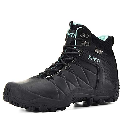 XPETI Women's Quest Mid Waterproof Hiking Boot (9, Black)