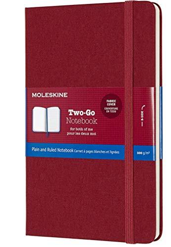 Moleskine - Cuaderno Clásico Two-Go con Páginas Lisa y de Rayas, Tapa Dura y Goma Elástica, Color Rojo Arándano, Tamaño Medio 11.5 x 18 cm, 208 Páginas