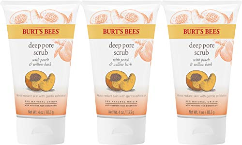 Burt's Bees Peach and Willow Bark Deep Pore Exfoliating Facial Scrub, 4 Oz (Pack of 3) (Package May Vary)