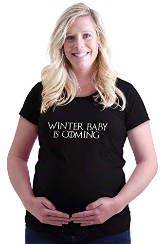 Winter Baby is Coming Expecting Ladies Maternity T Shirt Black