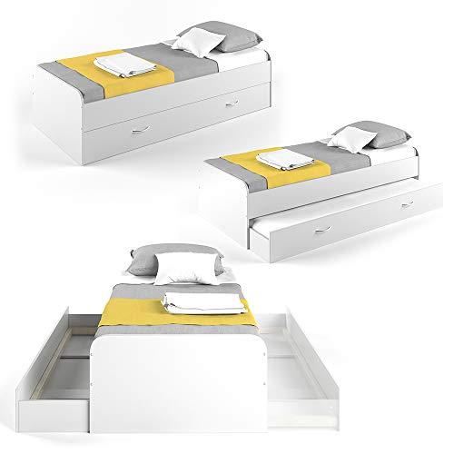 VitaliSpa Kojenbett Bett Enzo Jugendbett mit Gästeliege Funktionsbett 90x200 cm (Weiß)