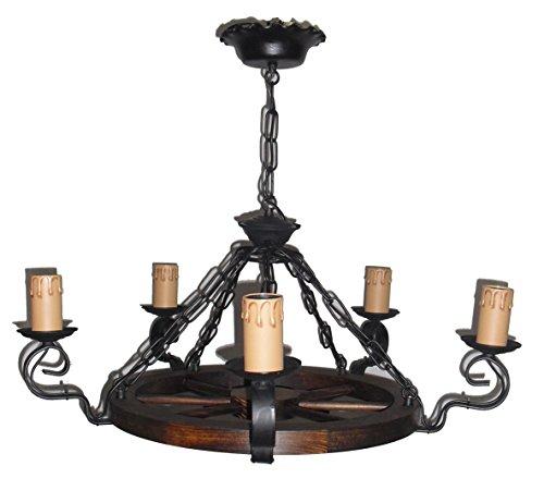 Lámpara rústica de rueda de carro 5 luces, diámetro total