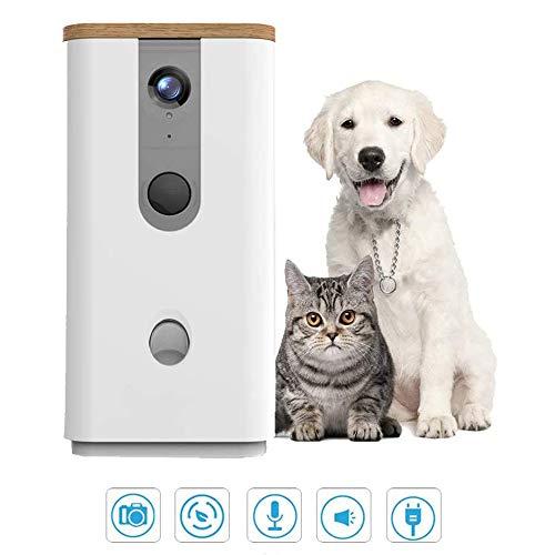 CAISYE 9L Automatische Tierfütterung, Full HD WiFi Smart Pet Kamera Zweiwege-Audiokommunikation mit Nachtsicht Hundefutter Dispenser Monitor für Hund und Katze,Weiß