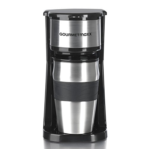 GOURMETmaxx Single Kaffeemaschine mit Thermobecher | Filter Kaffeemaschine Mini to go Becher, für Singles oder für zwei Tassen | Edelstahl [ca. 400ml/schwarz]