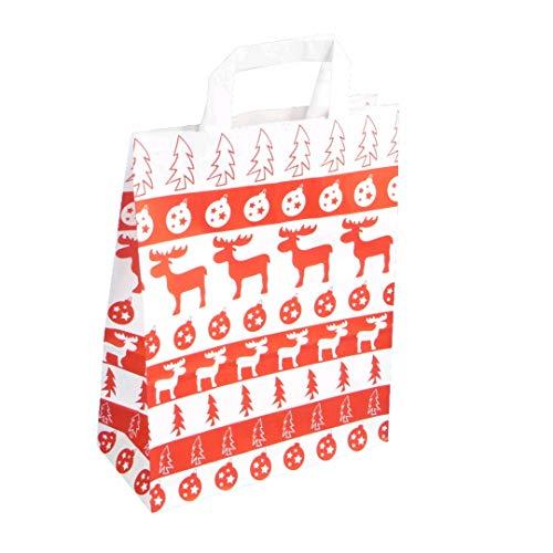 250 Papiertragetaschen Papiertüten Geschenktüten Papier Weihnachten Elch Norweger Style 3 Verschiedene Größen zur Auswahl (32+12x40cm)