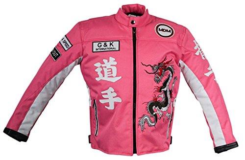 MDM Kinder Motorrad Jacje in rosa, Bikerjacke, Racing Jacke, (XL)