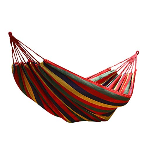 Aploa Singe Garden Hammock Portable Double Hammock Comfortable Swing Canvas Stripe Hang Bed Perfect For Patio Yard Outdoors Swing Chairs Hanging Bed For Camping, Hiking, Backpacking, Picnic