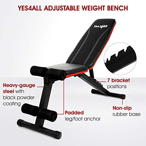 Yes4All Adjustable Weight Bench / Utility Weight Bench with Foldable Design - Multi-purpose Flat/Incline/Decline Bench for Home Gym (Red)