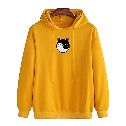 SSBZYES Suéter con Capucha para Hombre De Gran Tamaño, Camiseta De Manga Larga, Suéter, Suéter, Suéter para Mujer, Sudadera con Capucha con Estampado De Gato