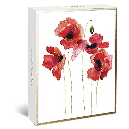 Graphique Watercolor Floral Assorted Boxed Notecards, 20 Embellished Gold Foil Flower Cards on Coated Durable Cardstock, with 4 Designs, Matching Envelopes and Storage Box, 4.25' x 6' (BM1170)