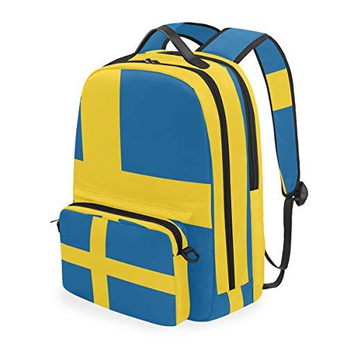 Schweden Flagge 2-in-1 Rucksack Abnehmbare Schultertasche Schule Computer Tasche Crossbody Bag Daypack