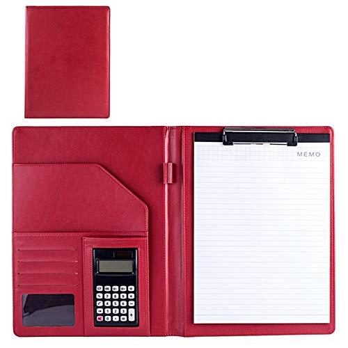 Jinzsnk - Carpeta para conferencias A4, multifuncional, con calculadora, de piel, para entrevistas, documentos legales, piel sintética, Rojo, 323x250mm