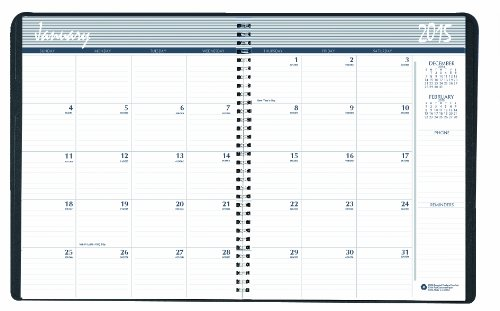 House of Doolittle Monthly Planner 14 Months, December 2014 to January 2016, 8.5 x 11 Inches, Black Leatherette Cover, Wire Bound, Recycled (HOD26202-15)