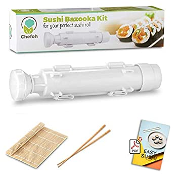 Chefoh All-In-One Sushi Making Kit   Sushi Bazooka Sushi Mat & Bamboo Chopsticks Set   DIY Rice Roller Machine   Very Easy To Use   Food Grade Plastic Parts Only   Must-Have Kitchen Appliance