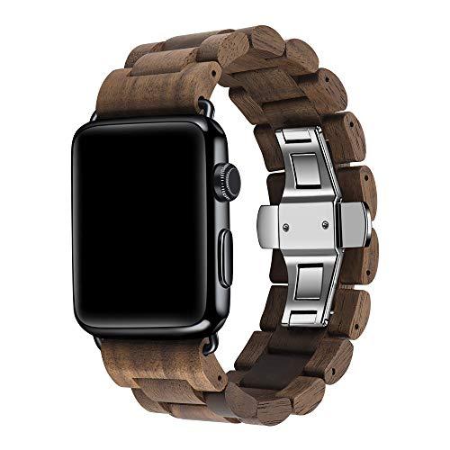 AIYIBEN Wooden Watch Band per Apple Watch, 100% eco-friendly in legno naturale orologio da polso Addensato cinturino bracciale per iWatch Series 5 4 3 2 1 Walnut-42mm