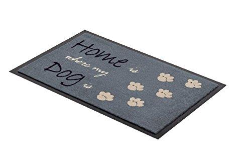 Fussmatte - Fußmatte - Schmutzabstreifer - Sauberlaufmatte - Türfußmatte - Fußabstreifer - Fußabtreter - Türmatte - Motivfußmatte - Fußmatte - Schmutzfangmatte - Hund - grau - Home is where my Dog is - witzig Grösse 38 x 57 cm