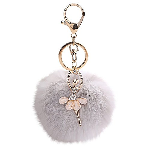 Janly Clearance Sale Womens Keychains, 8CM Cute Dancing Angel Keychain Pendant Women Key Ring Holder Pompoms Key Chains, Jewelry & Watches for Christmas Valentine's Day (Grey)