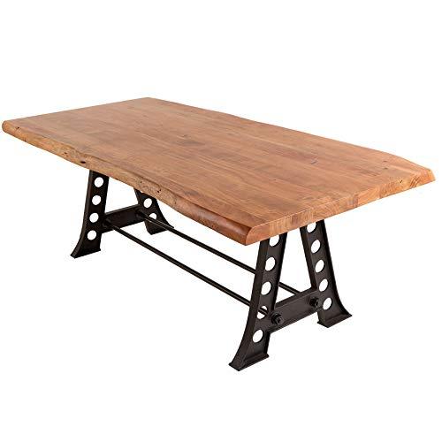 Industrial Esstisch Mammut Industrial 220cm Akazie schwarzes Gestell Tisch Konferenztisch Holztisch