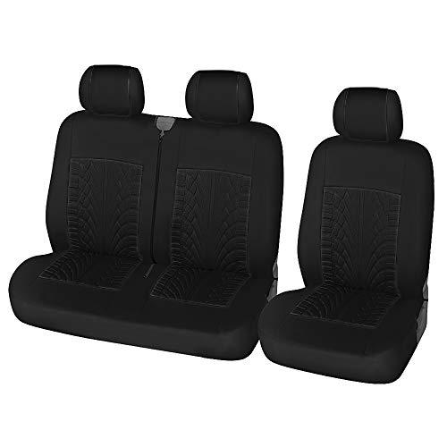 TOYOUN Fundas para asientos de furgoneta, diseño de neumáticos 3D, ajuste universal, para la mayoría de furgonetas, camiones, camiones, fundas para asientos delanteros de coche individuales y dobles