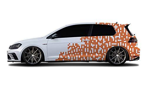 WRAP-SKIN Camouflage Cyber Pixel Aufkleber Auto Tuning Komplettset 2 x WS-01-00-10006 034 Orange Glanz