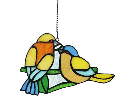 Alivagar Stained Glass Window Hangings Suncatcher Honey Love Birds, 8 x 5