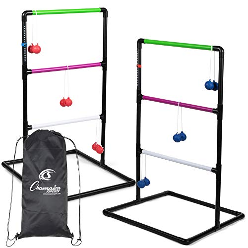"""Champion Sports Outdoor Ladder Ball Game: Backyard Party, Camping & Beach Games Ladder Golf Set for Adults and Kids with Bolas Balls and Carrying Case , 39""""H X 22""""W With 33"""" Deep Base Set"""