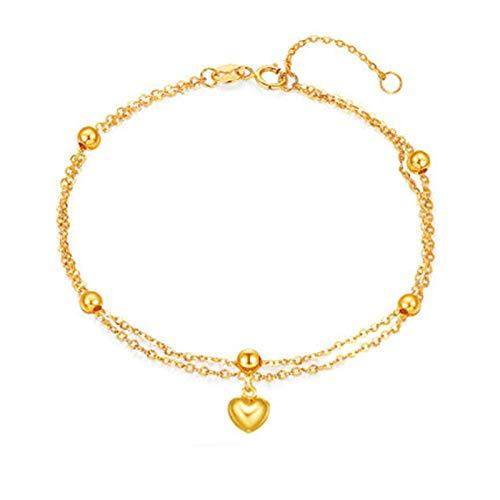 KnSam 18K Oro Amarillo Pulsera, Brazalete Corazón Rosario, Color Oro, Amarillo Oro