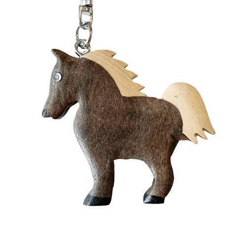JA Horse - Holz Schlüsselanhänger Pferd Pferdchen Pony Reiten Tier handgemacht (grau Pferd)