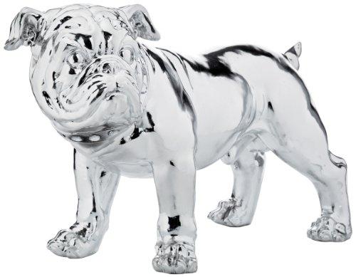 Kare 42 cm Deco Figur Bulldogge Eco, Zilver