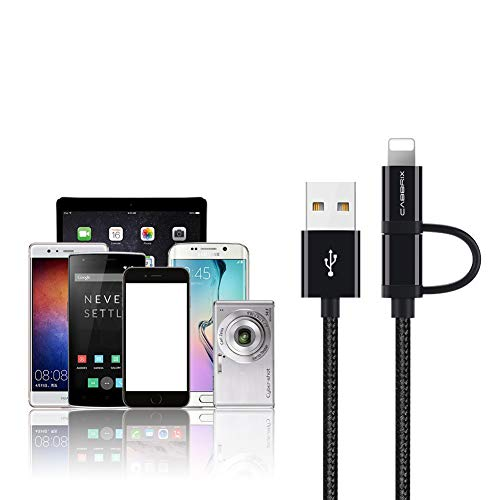 CABBRIX® Schwarz 1,5m Micro USB Ladekabel auf Phone Adapter Daten- Ladekabel für Phone Xs Xr X 8 Plus 7 Plus SE Pad Pro Air Mini Samsung S5 Neo S6 S7 LG Huawei HTC Google Nexus Sony PS4 Xbox