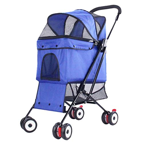 Kays Outing Row Cart Pet Dog Cat Bag Pram Light Folding Removable Washable 4 Wheels - 60 * 43 * 98cm (Color : Blue)