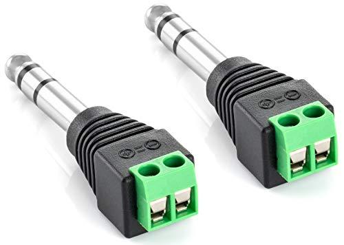 Poppstar Audio Klinkenstecker (Adapter 6,35mm Klinke Stereo männlich auf 2-pin Terminal Block), 2 Stück