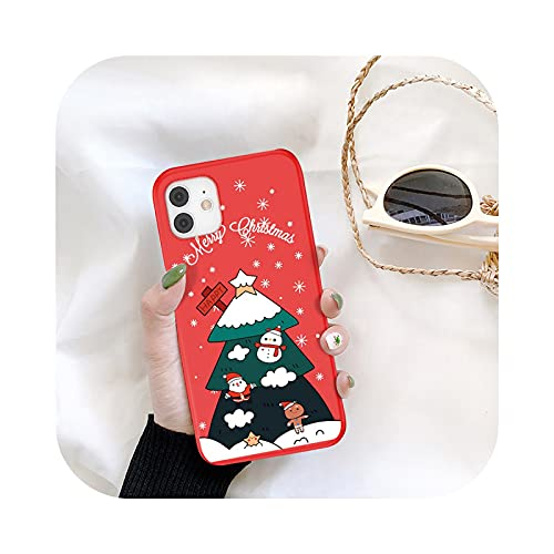 KASHINO Funda de teléfono de Navidad para iPhone 11 12 Pro Max 7 8 6 6S Plus 12 Santa Claus encantadora cubierta para iPhone XR X Xs SE 2020-T6-para iPhone 11Pro Max