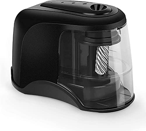Electric Pencil Sharpener, Heavy-Duty Helical Blade to Fast Sharpen, Pencil Sharpeners for USB/Battery Operated, Suitable for No.2/Colored Pencils(6-8mm)/Classroom/Home/Office - Black