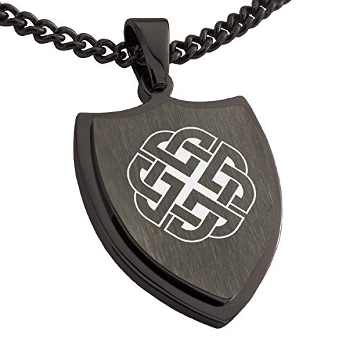 Tioneer Gunmetal Stainless Steel Celtic Quaternary Knot Rune Shield Pendant Necklace