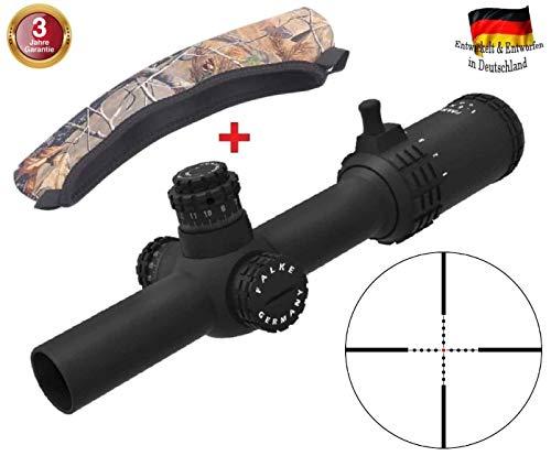 FALKE Zielfernrohr 1-6x24 Tac mit Mil-Dot Absehen, beleuchtet, verbesserte Modell 2018, Schussfest für alle Kaliber + Schutzhülle