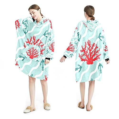 LENNEL Manta Sudadera con capucha Bata suave con capucha Mantas calientes Sudadera Talla única para todos los adultos Corales y anclas