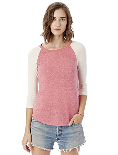 Alternative Women's Baseball T-Shirt, Eco Summer Berry/Eco Ivory, Medium
